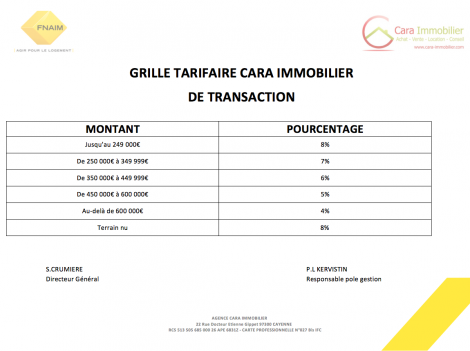 Grille tarifaire transaction